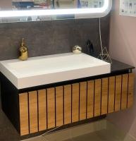Мебель для ванной комнаты Шкафчик с умывальником FANCY MARBLE Milos 1000 + Agness 750 (Дуб)