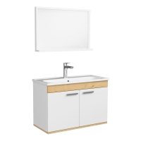 Мебель для ванной комнаты Комплект: Шкафчик с умывальником RJ First 80 + зеркало (74х50) - RJ20800WO