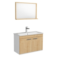 Мебель для ванной комнаты Комплект: Шкафчик с умывальником RJ First 80 + зеркало (74х50) - RJ20800OK